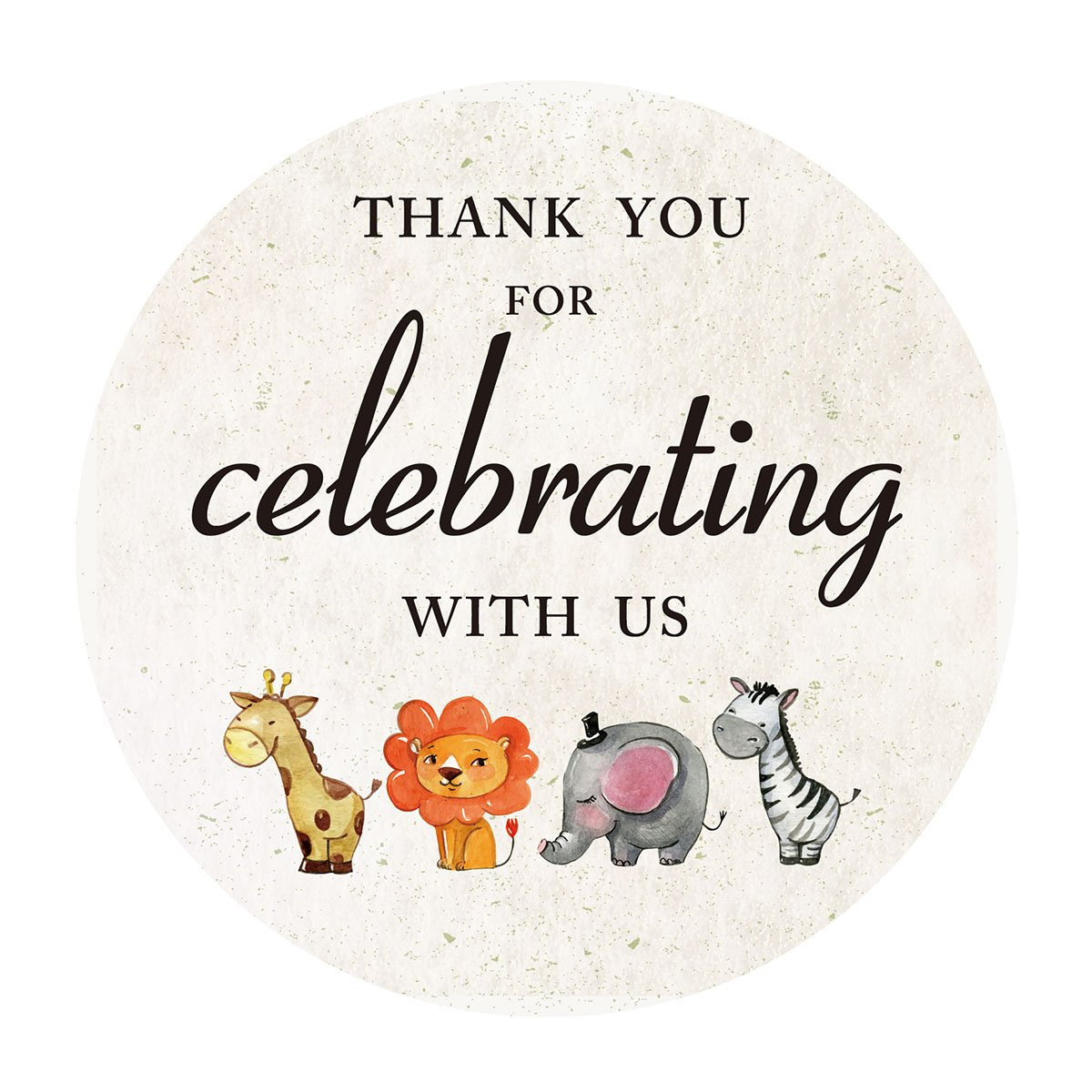2 Inch Jungle Animals Thank You Stickers, Safari Baby Shower or Birthday Favor Sticker Labels, 40-Pack