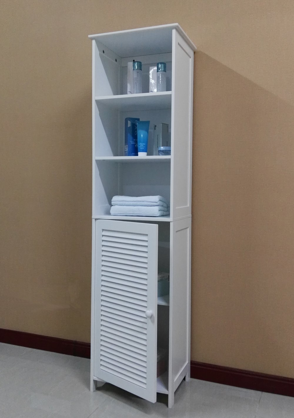 Elegant Made Of Durable Painted MDF And Wood Composite This Cabinet With Its 5  Storage Shelves Will Hold A Substantial Amount Of Bathroom ...