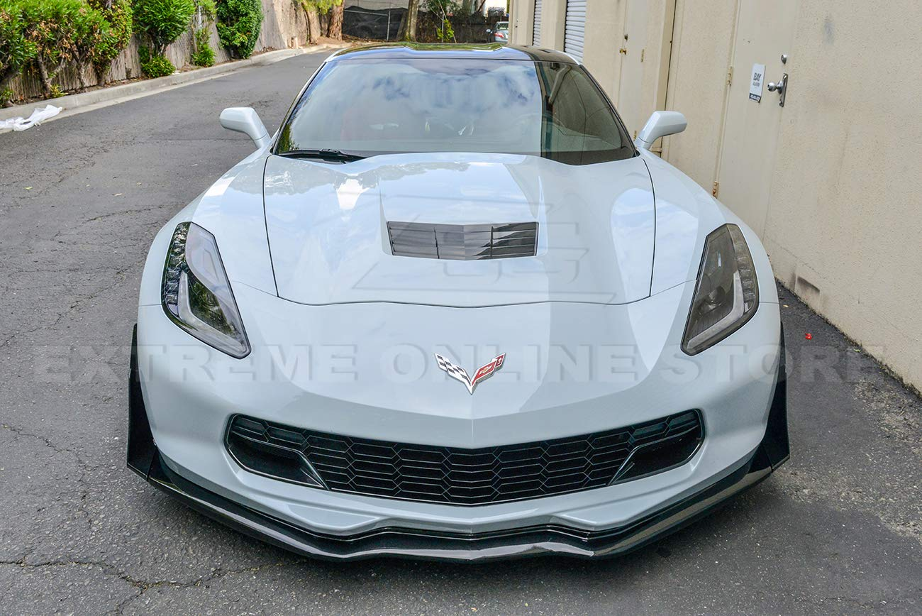 ABS Plastic - Primer Black Z06 Stage 3 Front Bumper Lip Splitter with Painted Carbon Flash Metallic Side Extension Winglets Pair Replacement for 2014-2019 Corvette C7 All Models