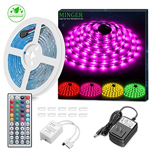 MINGER LED Strip Light Waterproof 16.4ft RGB SMD 5050 LED Rope Lighting Color Changing Full