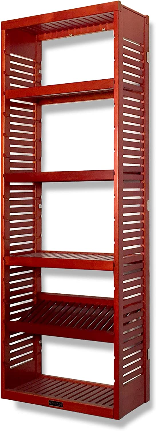John Louis Home 12in. Deep Storage Tower - Red Mahogany Finish