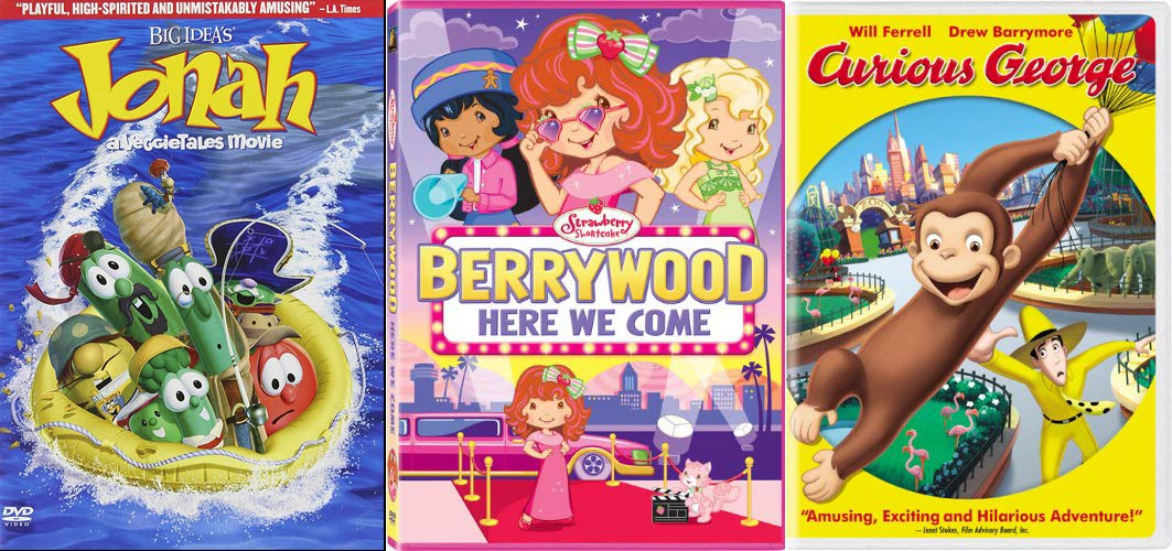 Gluten Free & Nutritious Childrens Family Fun DVD Collection - Big Idea's Jonah: A VeggieTales Movie (2-Disc Collector's Edition), Curious George, & Strawberry Shortcake: Berrywood Here We Come Bundle by