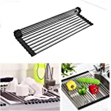 "Dish Drying Rack Over the Sink Roll -Up Foldable Mat,Homeya Multipurpose Kitchen Stainless Steel Large Drain Rack Heat Resistant Easy to Clean and Store for Pans Bottles Trivet (18.5"" x 15.7 "")"