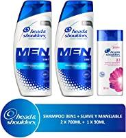 Head & Shoulders Head & Shoulders 3 En 1 Para Hombres Shampoo, 2 Piezas 700 Ml C/u + 90 Ml Suave Y Manejable 2 En 1, color, 2