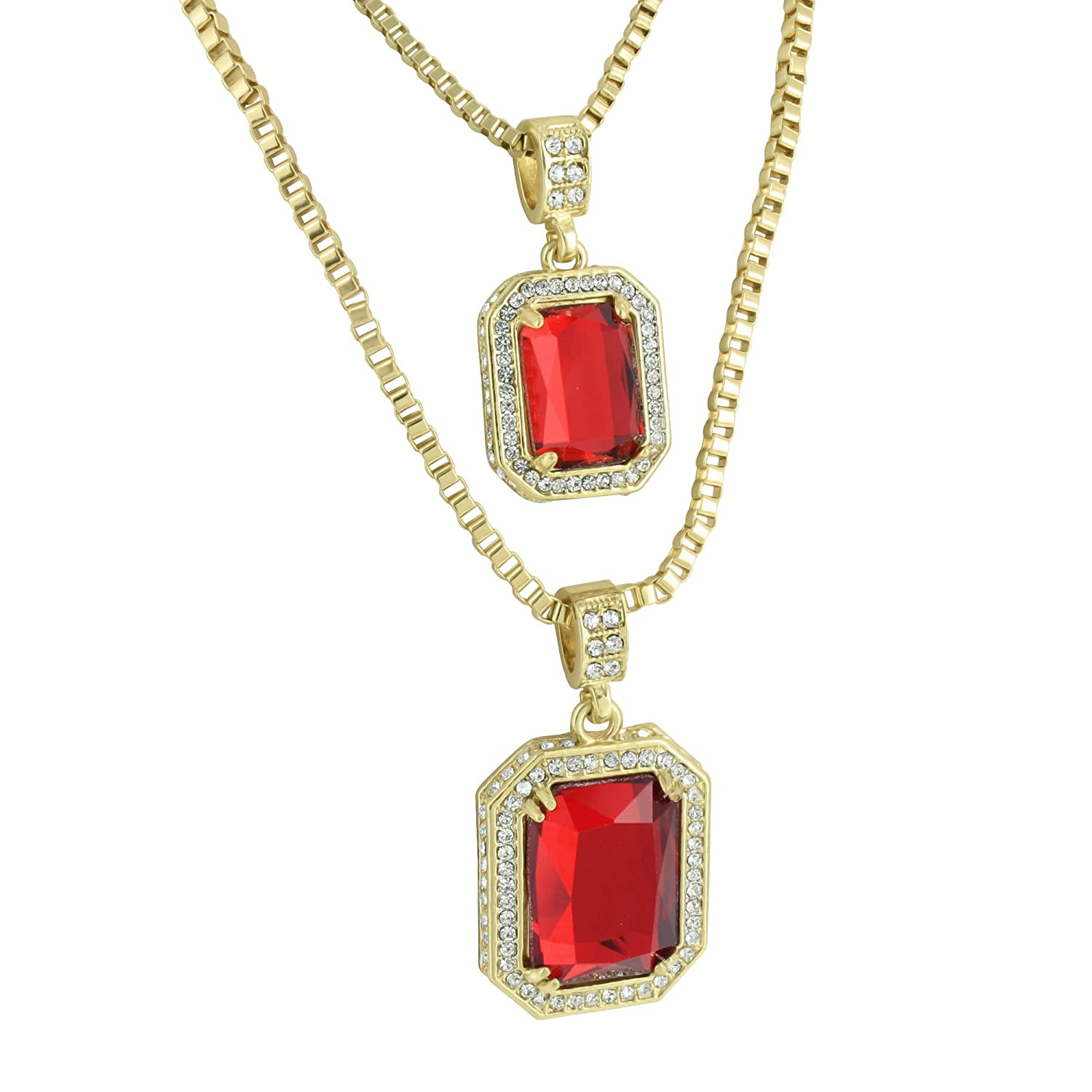 Garnet ruby pendants set free necklaces 14k gold finish lab diamond garnet ruby pendants set free necklaces 14k gold finish lab diamond rapper wear amazon mozeypictures Choice Image