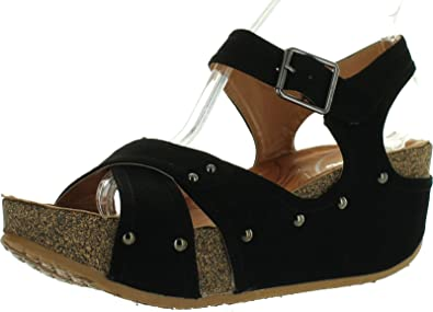 c46b38c1dbc Forever Freya-23 Womens Cork Look Platform Ankle Strap Low Wedge Sandals