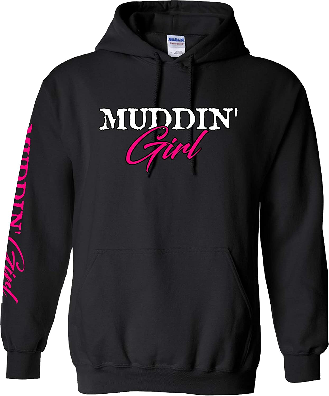 Extreme Muddin Girl On on a Black Hoodie