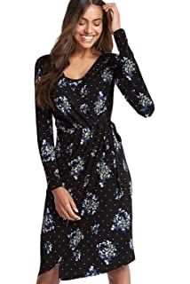 cfc800fdc Ex Marks & Spencer Womens Ladies Black Floral Stretch Jersey Wrap Dress  Floral Print Knee Length