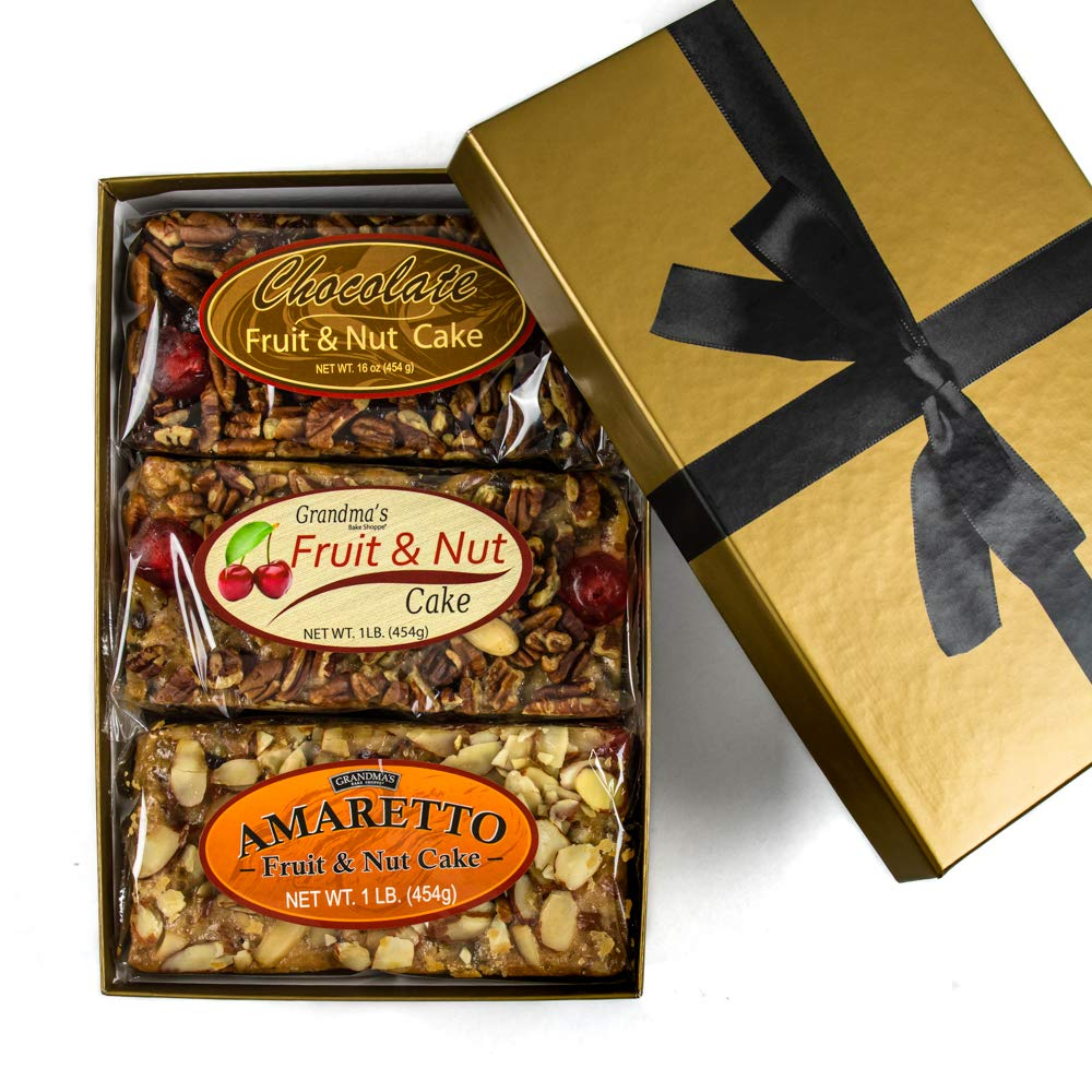 Grandma's Gourmet Fruitcake Assorted Flavors of Traditional, Amaretto & Chocolate Fruit and Nut Cakes | NO Citron or Other Bitter Candied Fruit | 3 - 1 lb Loaves in Gold Gift Box