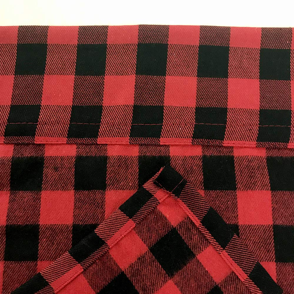 LGHome Black and Red Buffalo Check Curtains Gingham Window Panels Window Treatment 36x36inch, Set of 2, Black and Red