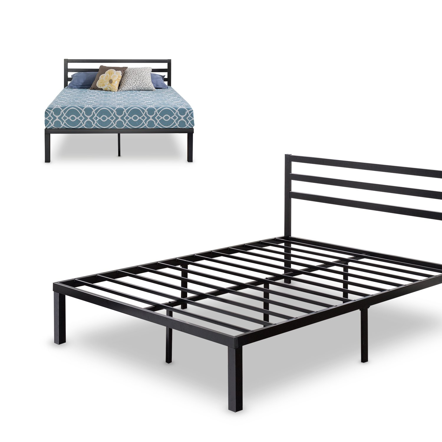 Zinus Quick Lock 14 Inch Metal Platform Bed Frame with Headboard / Mattress