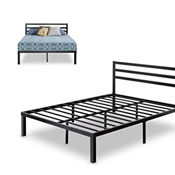 zinus quick lock 14 inch metal platform bed frame with headboard mattress foundation no