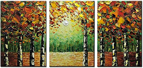 Desihum – 100 Hand-Painted 3 Piece Oil Painting Landscape Trees Forest Wall Art Modern Abstract Contemporary Artwork Stretched Wood Framed Ready Hang Home Decoration Wall Decor Living Room 20 x30 x3