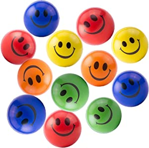"""Akusety Neon Colored Smile Funny Face Stress Ball - Happy Smile Face Squishies Toys Stress Balls Bulk Pack of 12 Relaxable 2.5"""" Stress Relief Smile Squeeze Balls Fun Toys"""