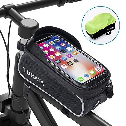 TURATA Bolsas de Bicicleta, Bolsa Impermeable para Bicicleta, Bolsa Táctil de Tubo Superior Delantero con Orificio para Auriculares para Teléfono ...