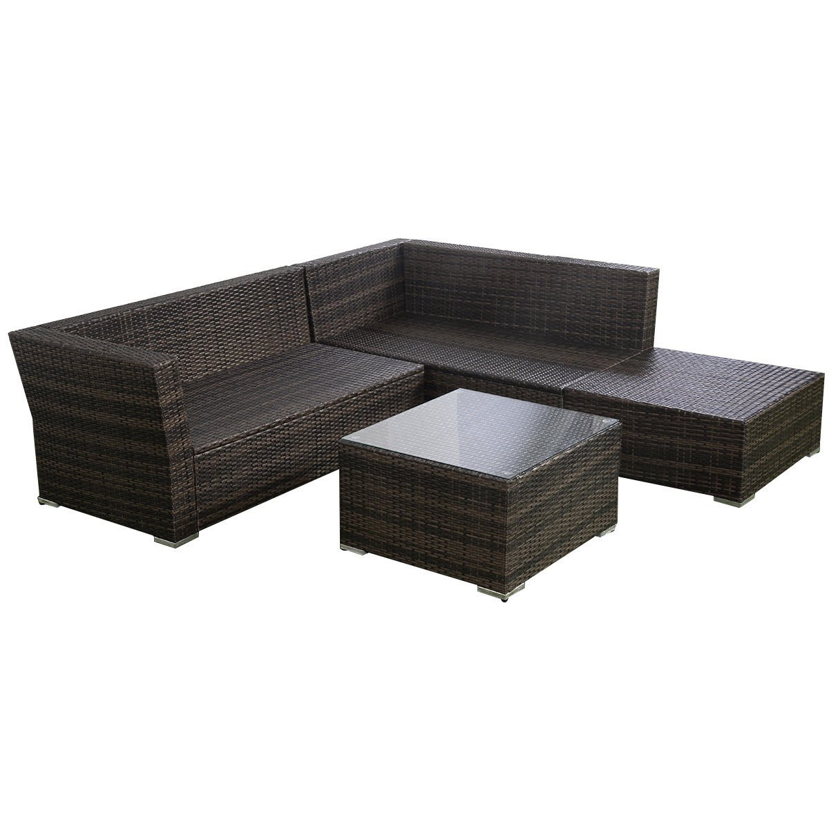 Amazon.com : Giantex 4pc Patio Sectional Furniture Pe Wicker Rattan Sofa  Set Deck Couch Outdoor : Garden U0026 Outdoor