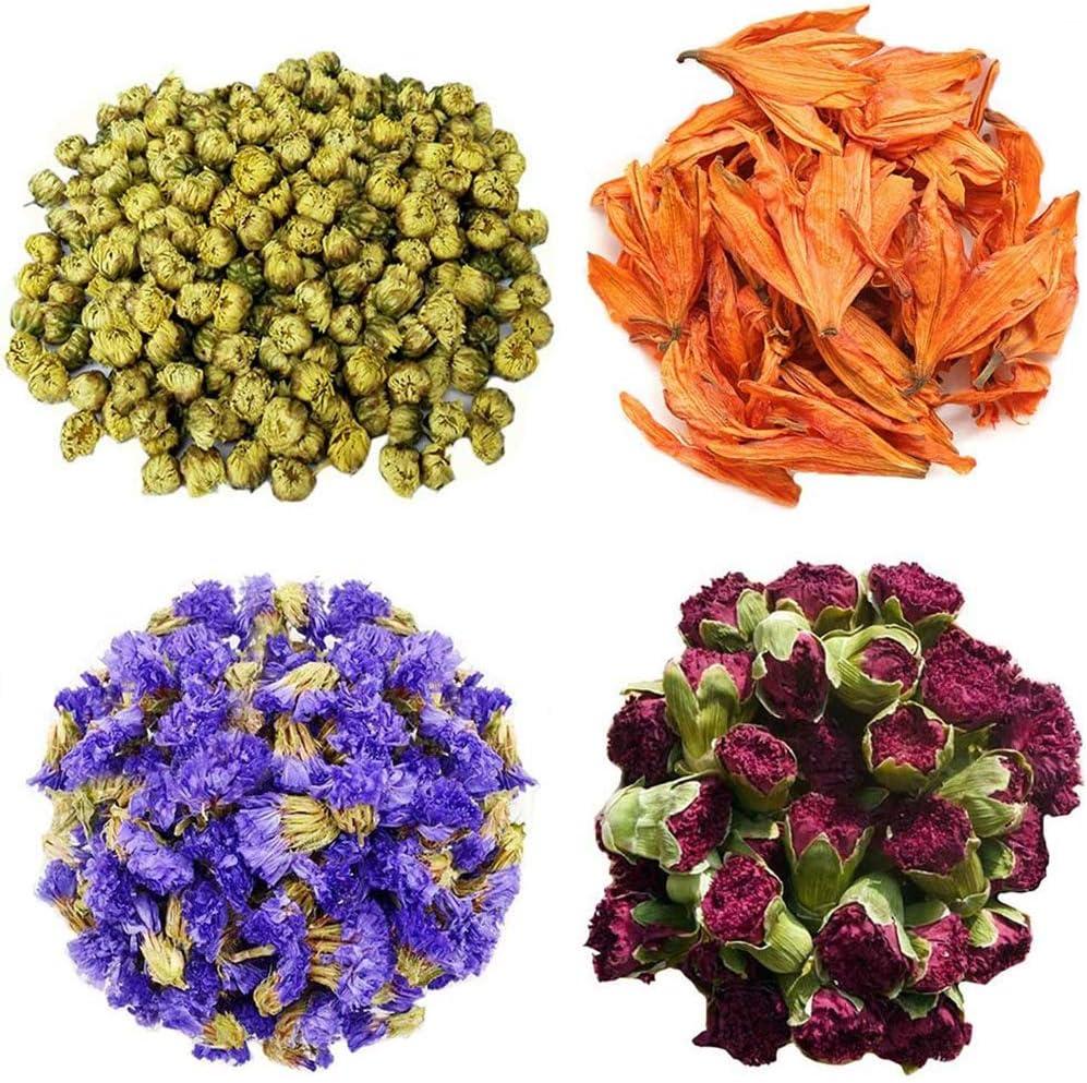 TooGet Los Pétalos y Capullos de Las Flores Incluyen Crisantemo, Lirio, Nomeolvides, Dianthus Caryophyllus, Flor de Té Verde a Granel, Ideal para Todo Tipo de Manualidades
