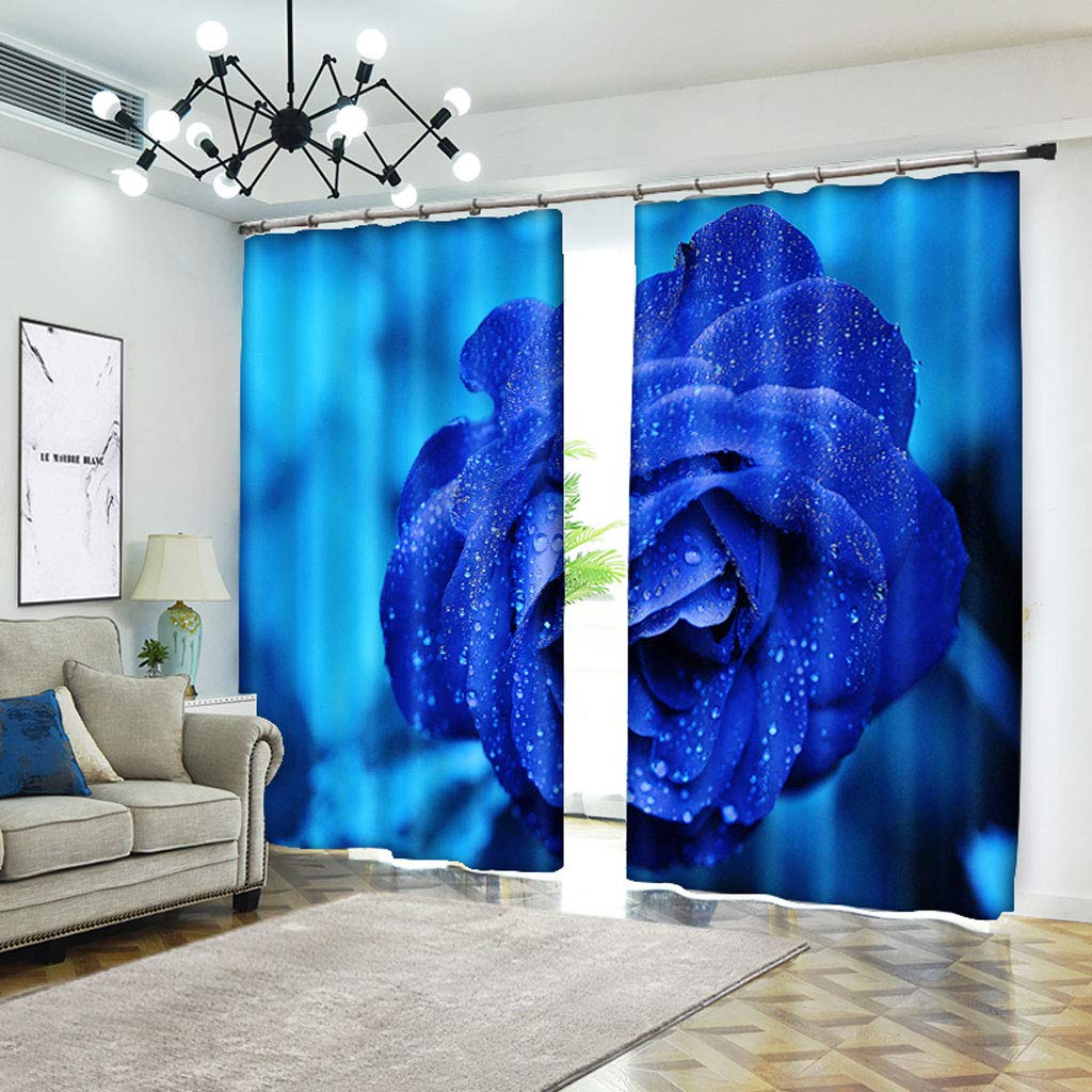ZZHL Curtains Curtains,Hooks Rings Blackout Set Thermal Insulated Window Treatment Solid Eyelet for Bedroom 2 Panels Blue Flower (Size : 1x2.41m) by ZZHL (Image #4)