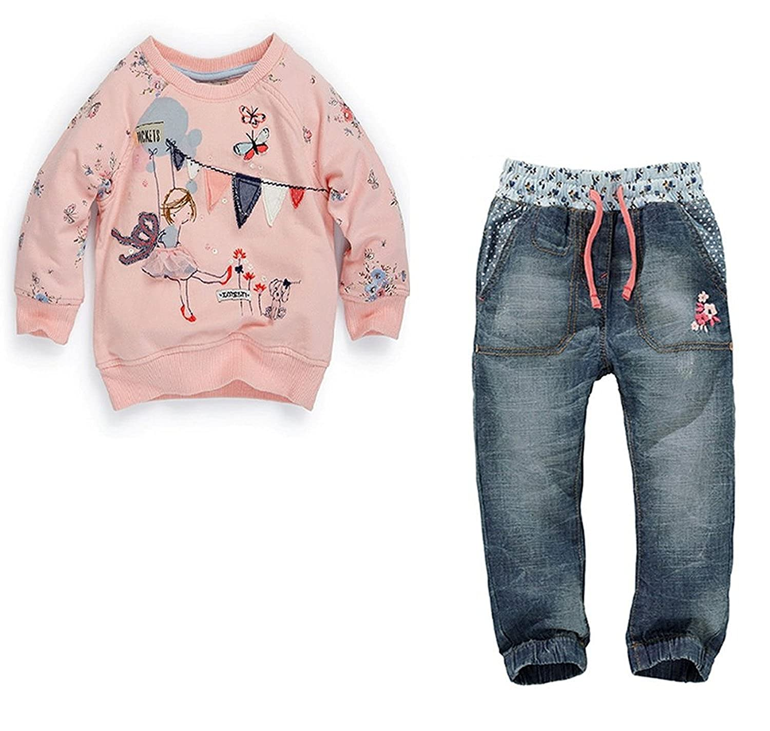 2pcs Baby Kids Boys Cartoon Shirt and Jean Pants Outfits& Set Suits