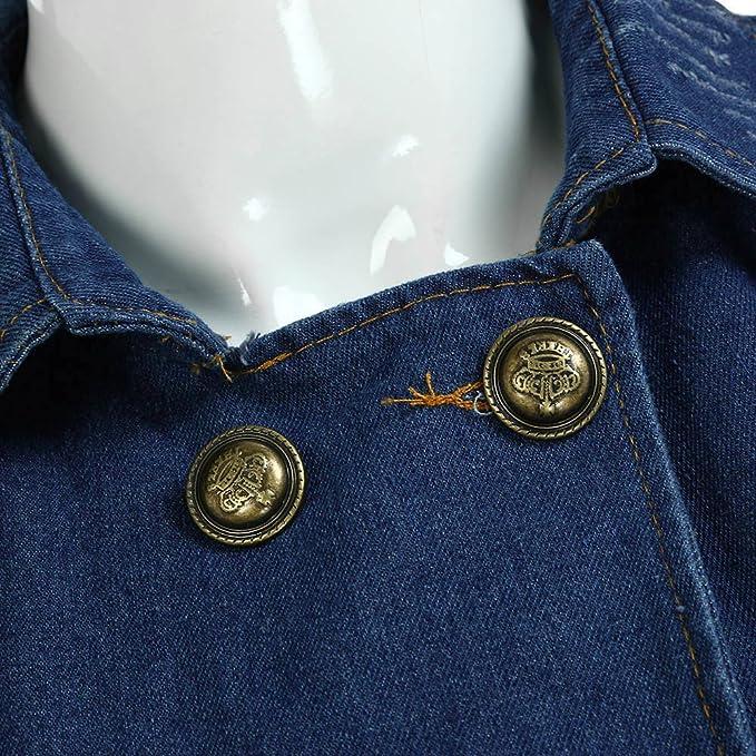 Amazon.com: AOJIAN Women Jacket Long Sleeve Outwear Denim Double Breasted Turn Down Collar Pockets Jean Coat: Clothing