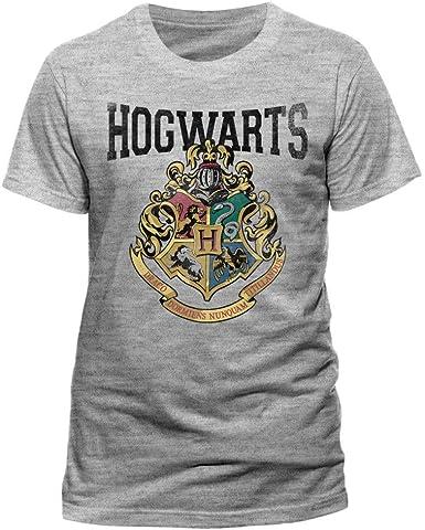 Camiseta original Harry Potter Escuela de Hogwarts gris 100% oficial Warner Bros gris: Amazon.es: Ropa y accesorios