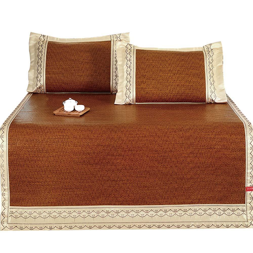 竹マットベッド/夏冷却寝台/籐マットレス、竹とアイスシルク素材、折りたたみリバーシブルデザイン,折りたたみ式アイスカーペット,Dark-brown-1.5×1.95m(59.1×76.8in) B07QPP456T