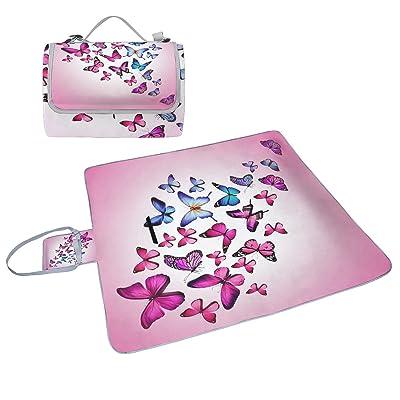 Coosun abstrait Papillon coloré Patterns Couverture de pique-nique Sac pratique Tapis résistant aux moisissures et étanche Tapis de camping pour les pique-niques, les plages, randonnée, Voyage, Rvi