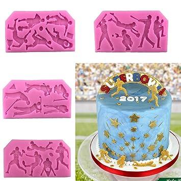 Creativas Deportes de pelota de Golf de baloncesto Rugby béisbol moldes de silicona para tarta Fondant
