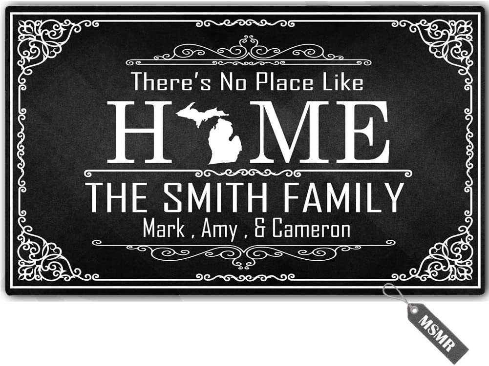 "MsMr Personalized [Your Name] Indoor Outdoor Door Mat Custom Doormat Monogram Design Home Welcome Mat There's No Place Like Home Michigan Doormat 30""x18"""