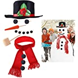 iBaseToy Snowman Kit - Snowman Making Kits Snowman Building Kit for Kids - Includes Hat Scarf Wooden Carrot-Nose Tobacco Pipe