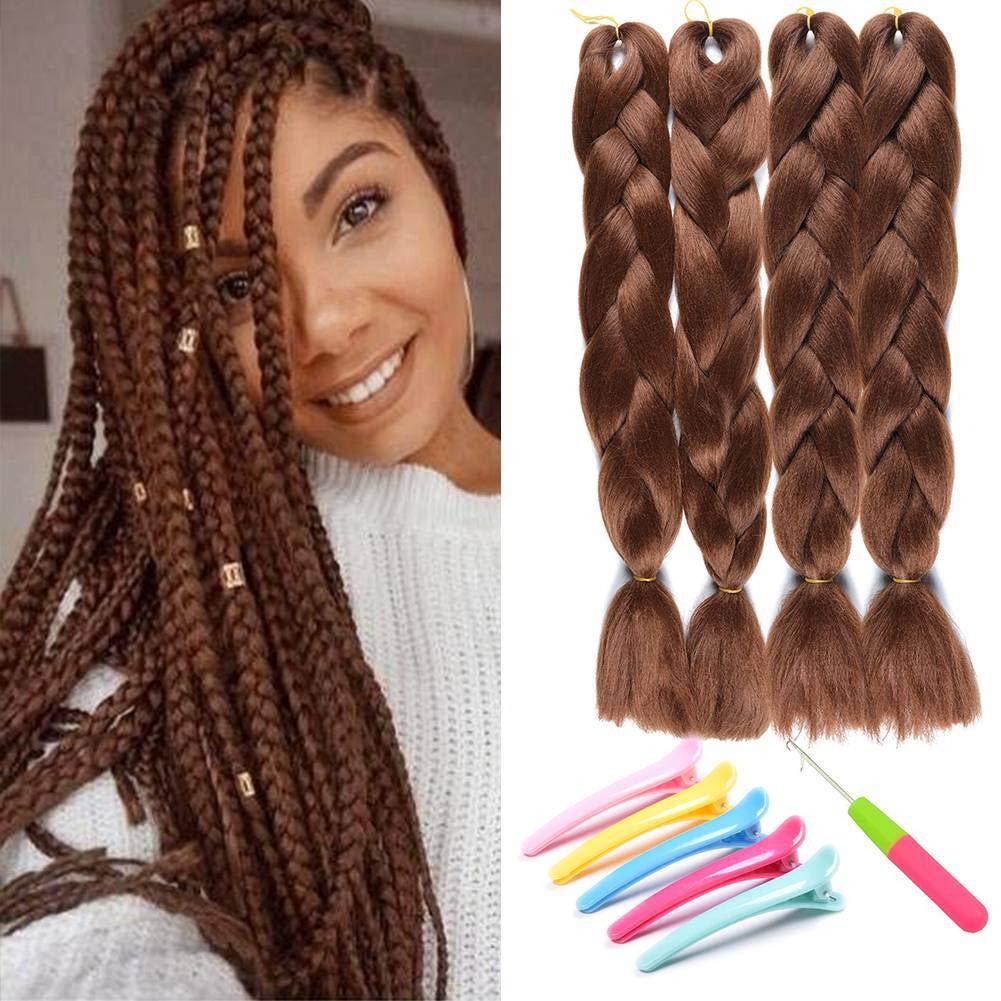 Amazon Com Synthetic Yaki Straight Ombre Jumbo Braiding Hair Extensions High Temperature Fiber Crochet Braids Hairstyles 4pcs Dark Brown A37 Beauty