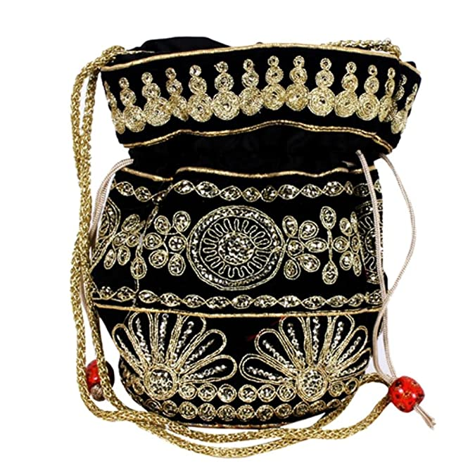 1920s Handbags, Purses, and Shopping Bag Styles Purpledip Potli Bag (Clutch Drawstring Purse) For Women With Intricate Gold Thread & Sequin Embroidery Work $12.99 AT vintagedancer.com