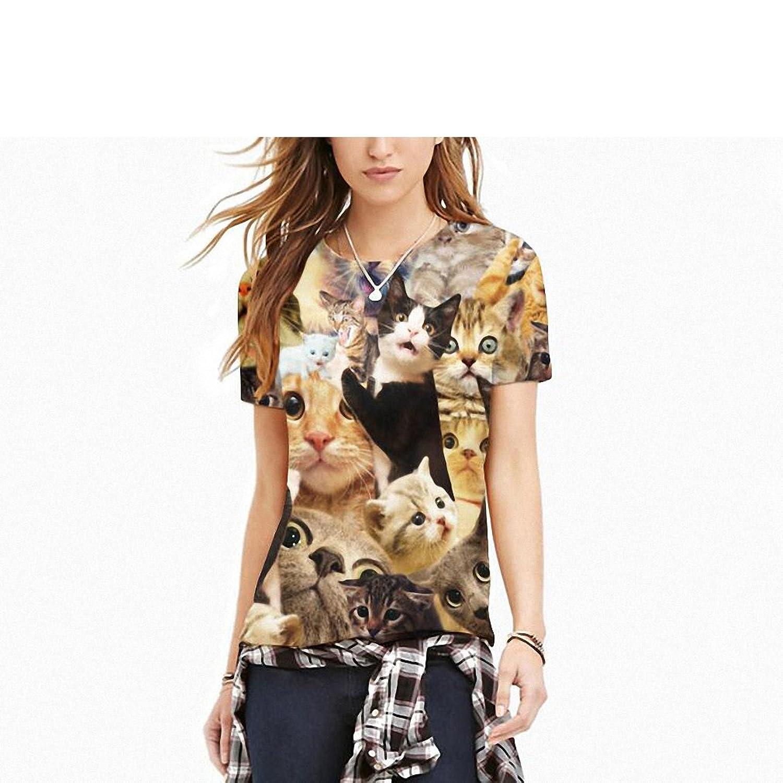 Hiuwa Unisex 3D T-Shirt Aniaml Many Funny Cats Camisetas O-Neck | Amazon.com