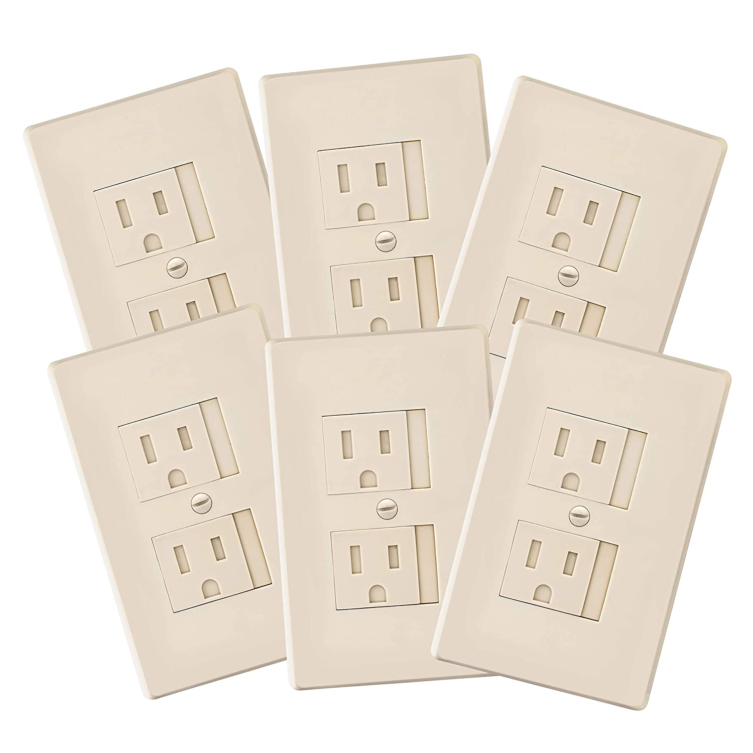 6-Pack Self-Closing Babyproof Outlet Covers - an Alternative to Wall Socket Plugs for Child Proofing Standard Outlets (1 Screw), Beige