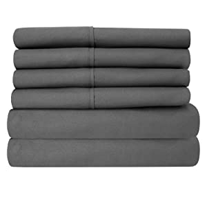 Full Size Bed Sheets - 6 Piece 1500 Thread Count Fine Brushed Microfiber Deep Pocket Full Sheet Set Bedding - 2 Extra Pillow Cases, Great Value, Full, Gray