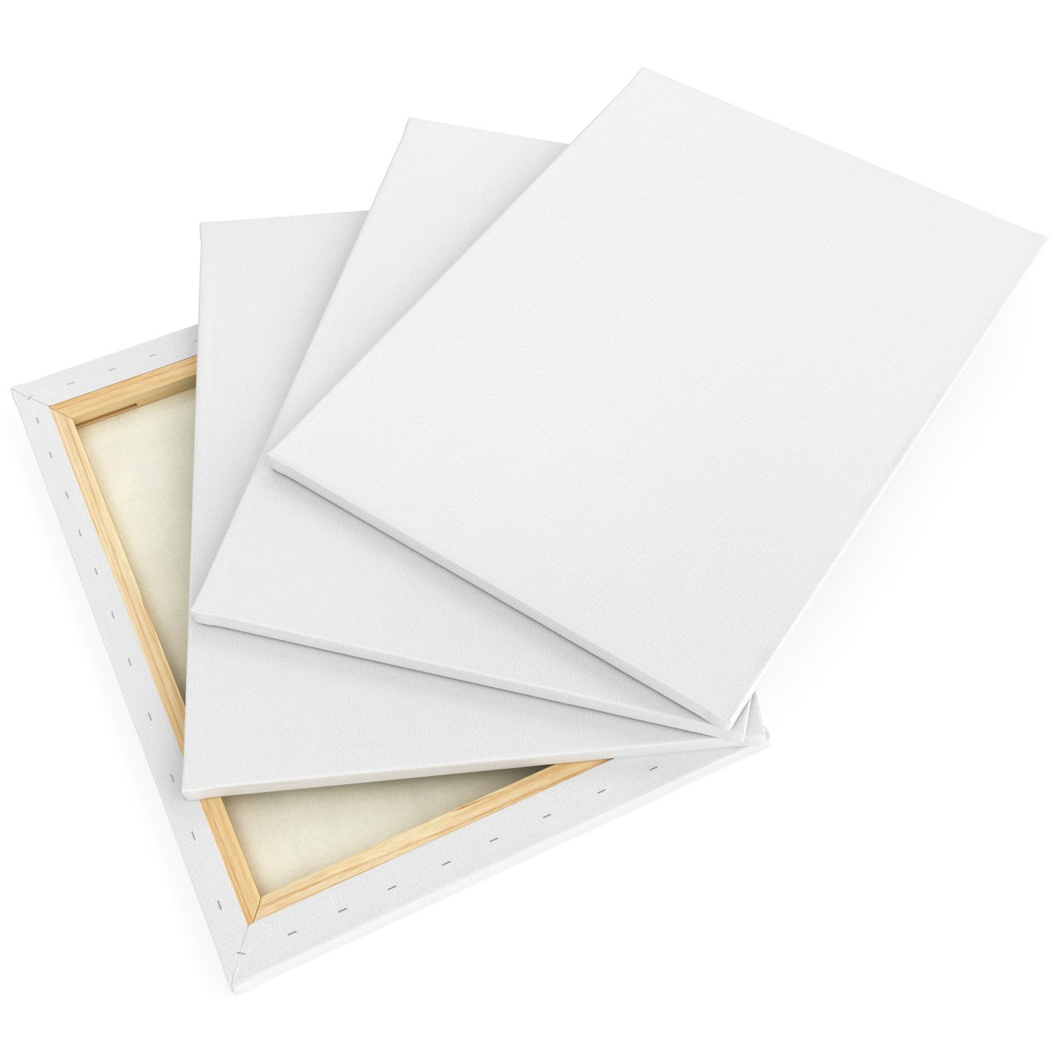 """Arteza 18x24"""" Stretched White Blank Canvas, Bulk Pack of 4, Primed, 100% Cotton for Painting, Acrylic Pouring, Oil Paint & Wet Art Media, Canvases for Professional Artist, Hobby Painters & Beginner by ARTEZA (Image #2)"""