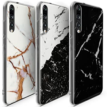 CLM-Tech 3 x Funda para Huawei P20 Pro, Carcasa Cuero sintético, Flip Case con Soporte y Ranuras para Tarjetas, Mármol Negro Oro Blanco