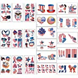 Fourth of July Temporary Tattoo Stickers, Independence Day Patriotic Temporary Tattoos for USA Party Favors Decorations Acces