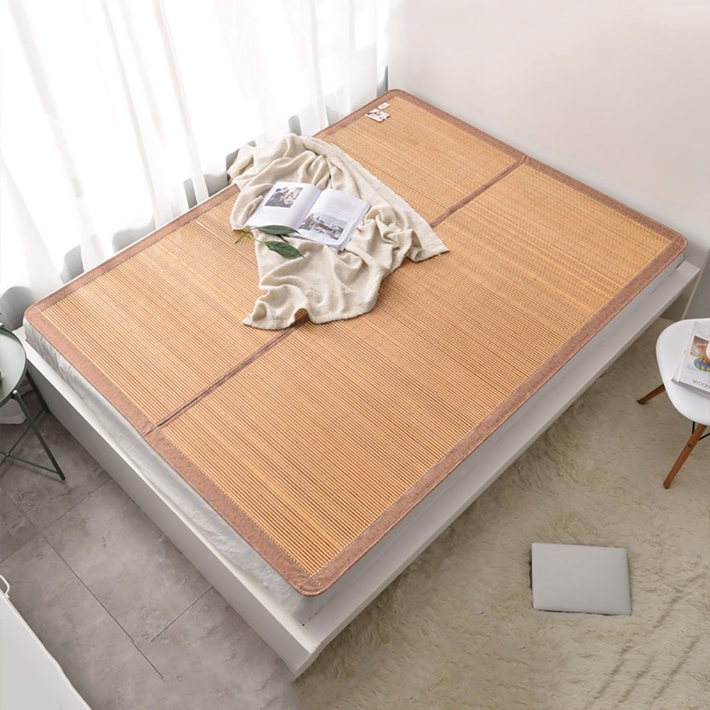 Foldable Cool Bamboo Mat 1m Single Student Dormitory Bed-mat for Summer 1.5m Air-conditioned Mat (Color : Style 1, Size : 0.9m bed)