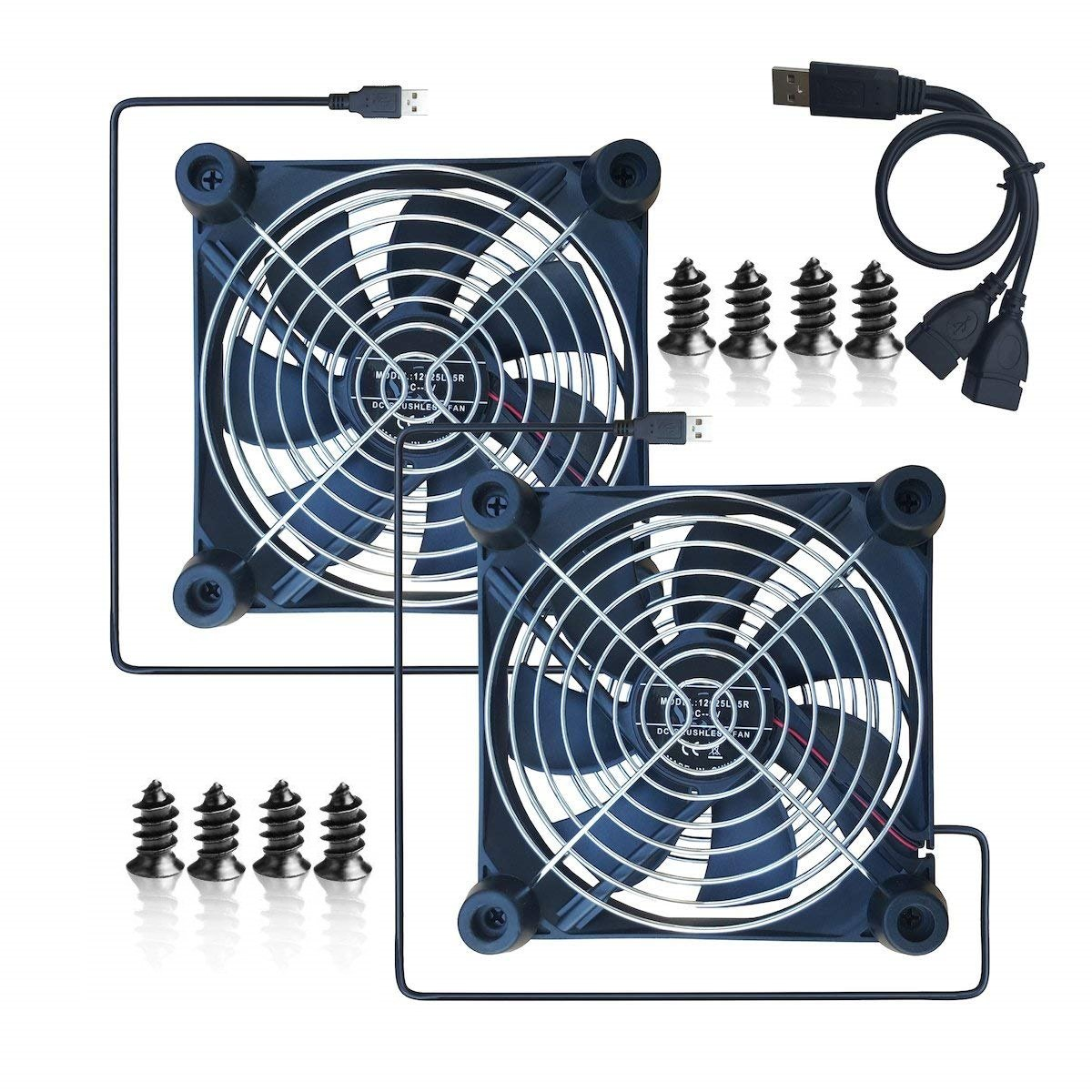 Xbox MERES 12CM USB Quiet Cooling Fan with Double Grilles and Rubber Feet for Airport Express routers 2PCS HDD case PS Radiator Coller Fan for Time Capsule with the size 120 x 120 x 25mm