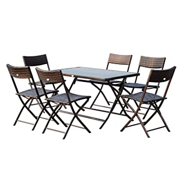 Outsunny Ensemble Salon de Jardin 6 Personnes Grande Table ...