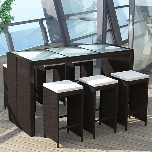 Tavoli Da Bar Per Esterno.Hobbyesport Tavolo Da Bar In Vetro Per Esterno Con 6 Sgabelli In