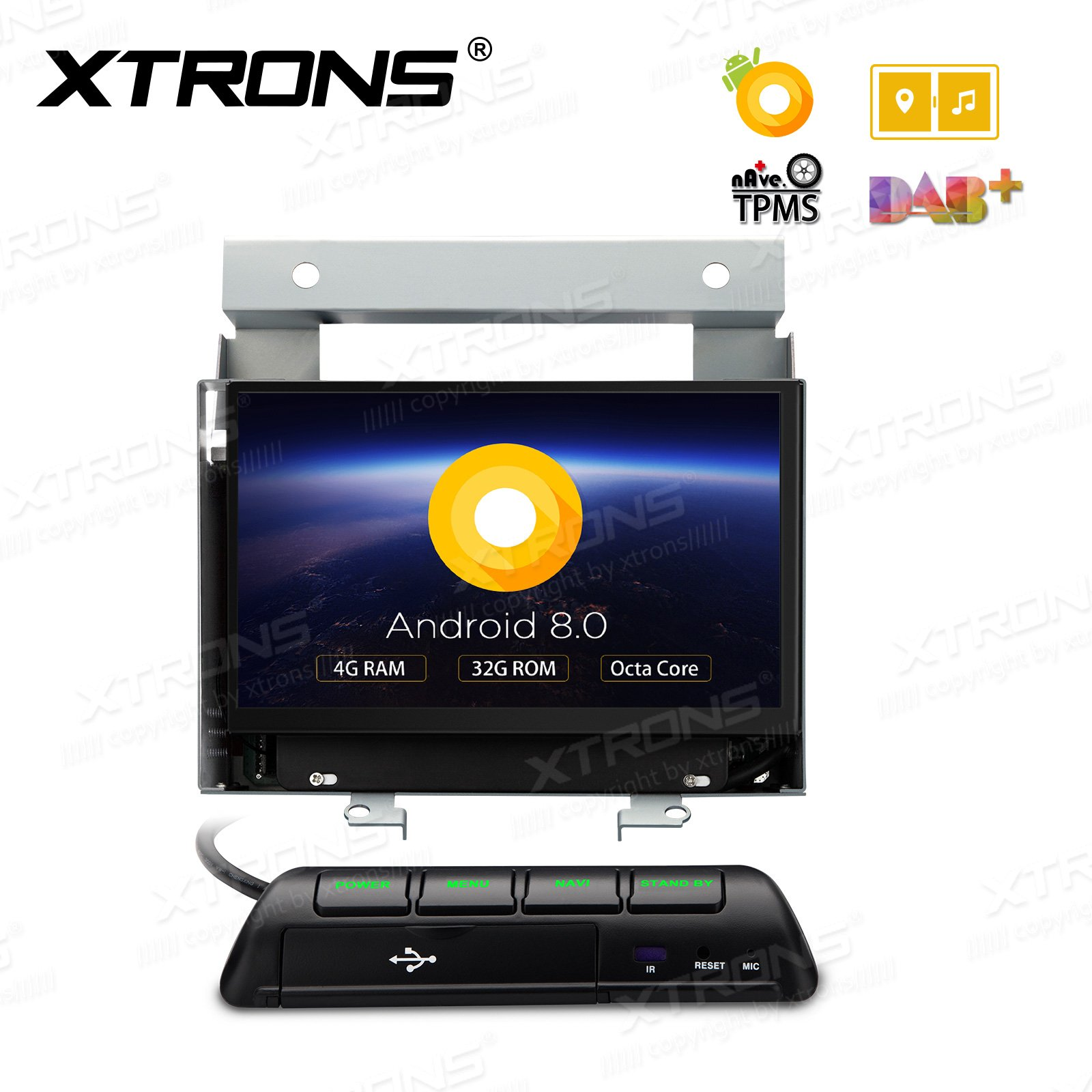 XTRONS 7'' Android 8.0 Octa Core 4G RAM 32G ROM HD DVR Car Stereo Player Tire Pressure Monitoring Wifi OBD2 for Land Rover Freelander 2