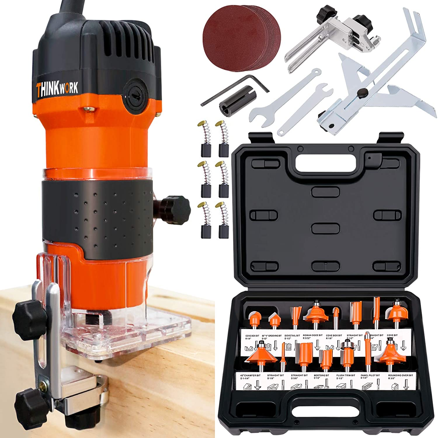 THINKWORK Compact Router, 6.5-Amp 1.25 HP Compact Wood Palm Router Tool Kit, Wood Trimmer with 15 pieces 1/4