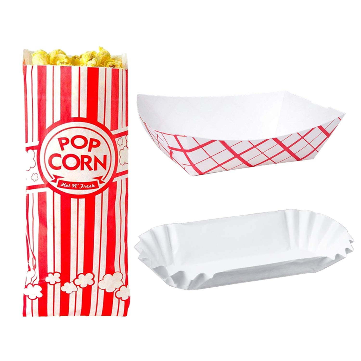 Disposable Paper Food Tray Variety Bundle. Holds Nachos, Fries, Hot Corn Dogs, and More! 100 of Each. (Food Trays, Fluted Hot Dog Trays, and Popcorn Bags)