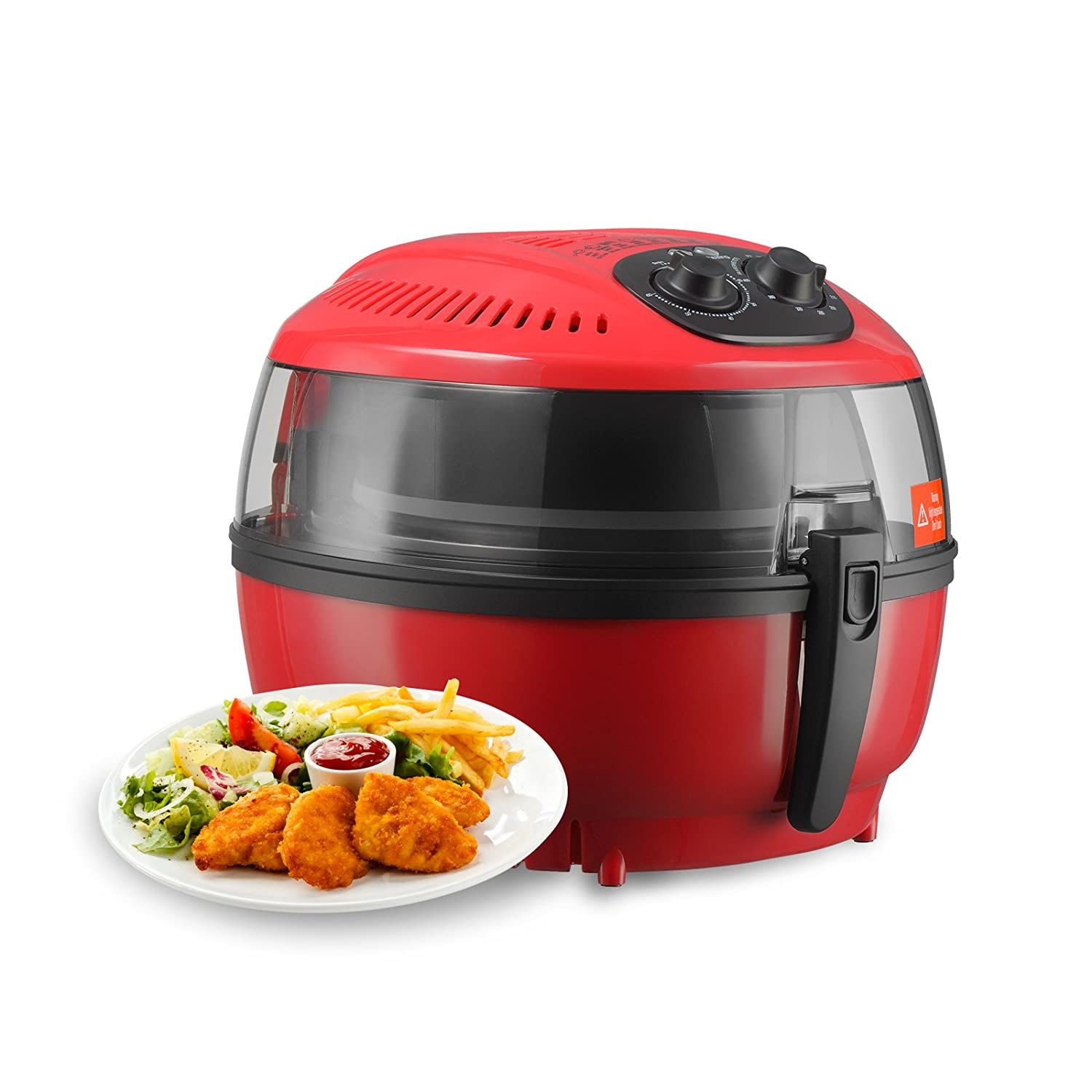 KUPPET Air Fryer-Hot Air/Deep Fryer with Basket/Rapid Air Technology For Less or No Oil/Timer & Temperature Control/8 Cooking Presets/Included Recipe,Steamer,Fryer Pan (7.4QT, Red)