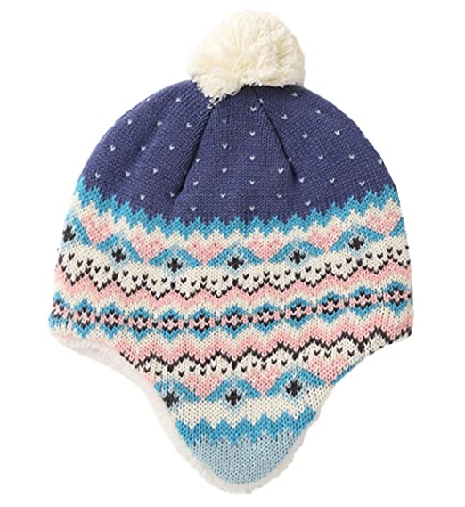 bae9d38d1b1 Connectyle Toddler Infant Baby Knit Kids Hat Sherpa Lined Beanie Hat with  Earflap Warm Winter Hats
