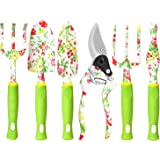 Garden Tool Set, 6 PCS Heavy Duty Aluminum Gardening Hand Tools Kit, Floral Print Gardening Tool Set, Gardening Gifts for Wom