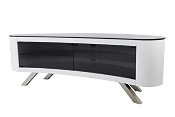 Avf Bay Curved Tv Stand In White Amazon Co Uk Electronics