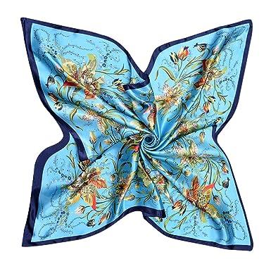 6802264a1e22 Bobury Womens carré Soie comme Satin Grand Foulard Wrap Butterfly Floral  châle 90   90cm